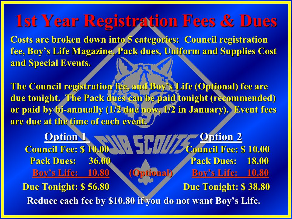 1st Year Registration Fees & Dues
