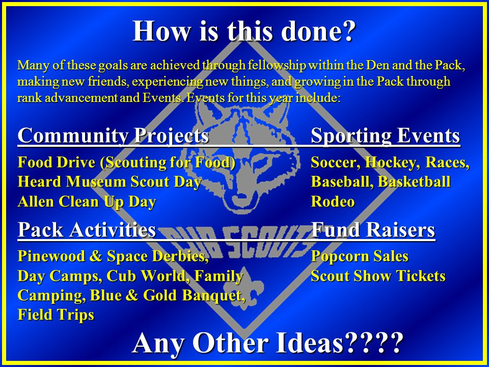 How is this done Pack Activities Fund Raisers