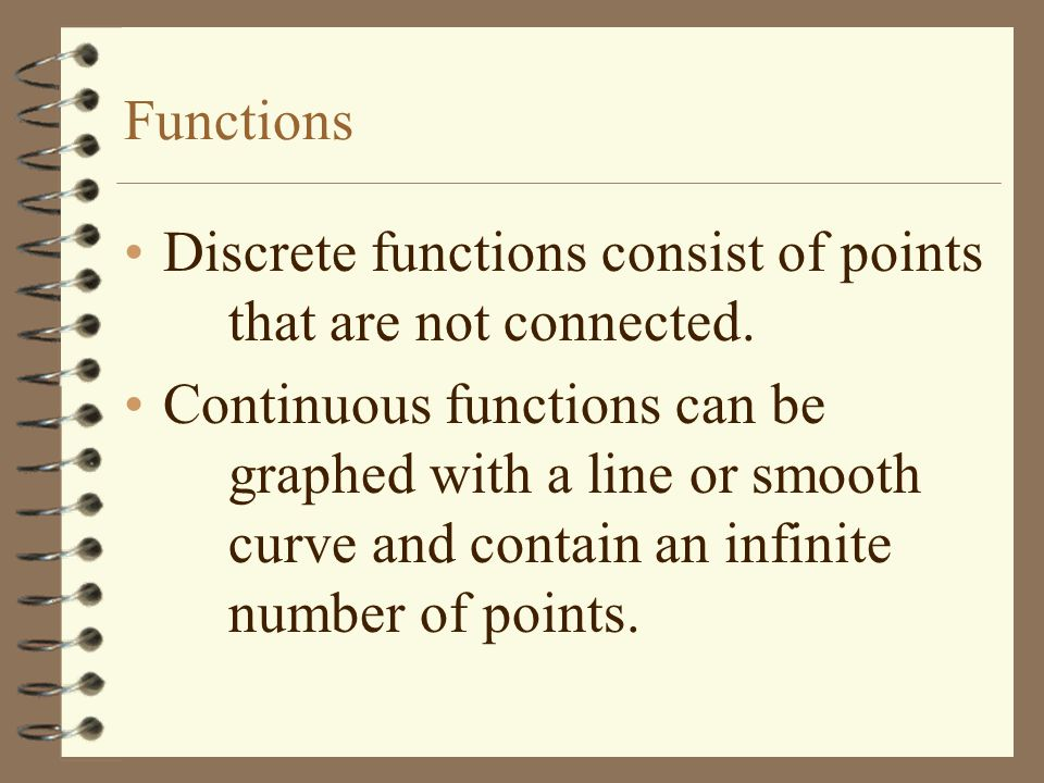 Functions Discrete functions consist of points that are not connected.