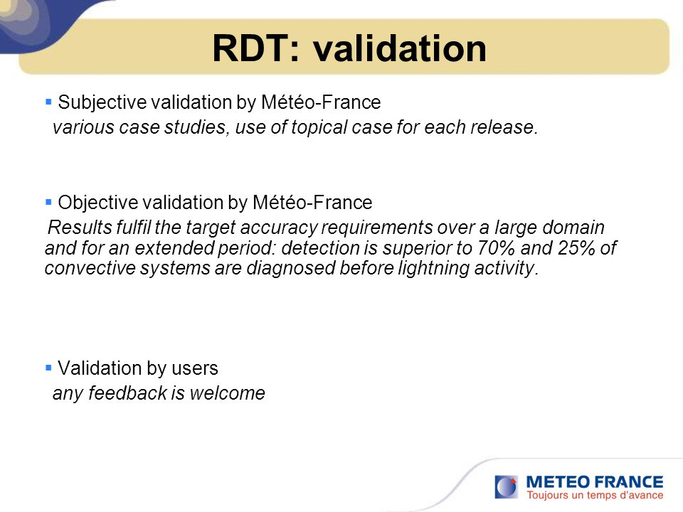 RDT: validation Subjective validation by Météo-France