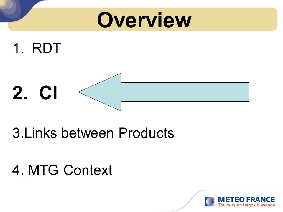 Overview RDT CI Links between Products MTG Context