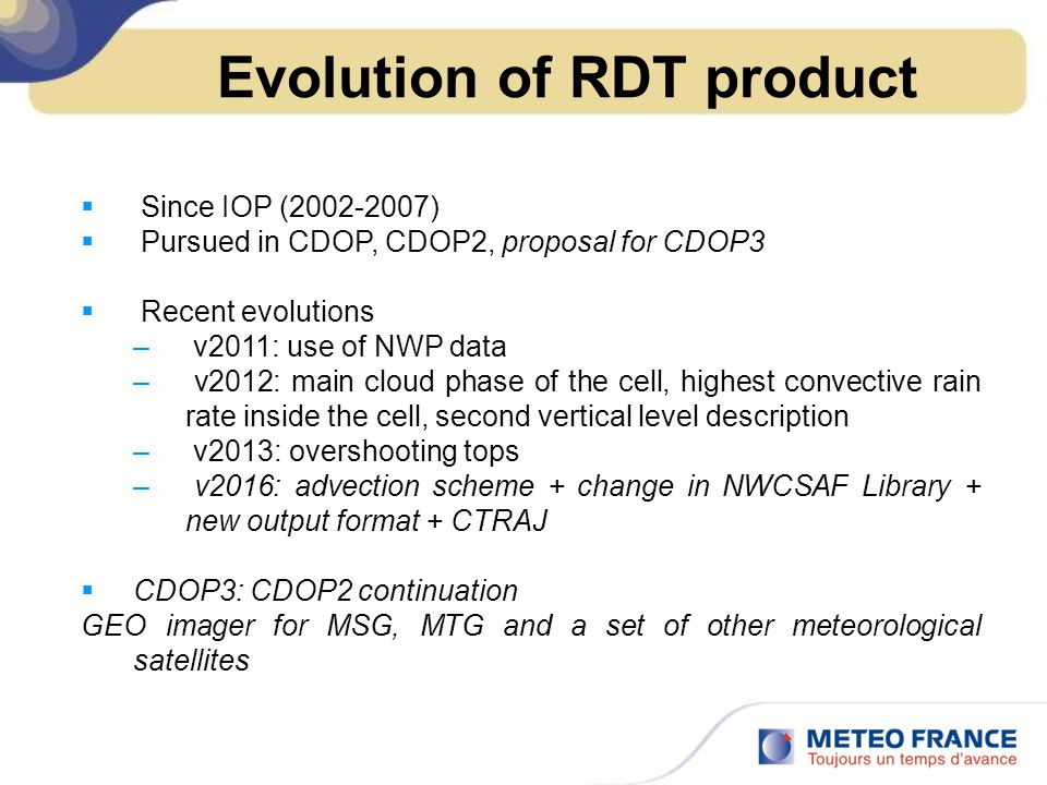 Evolution of RDT product