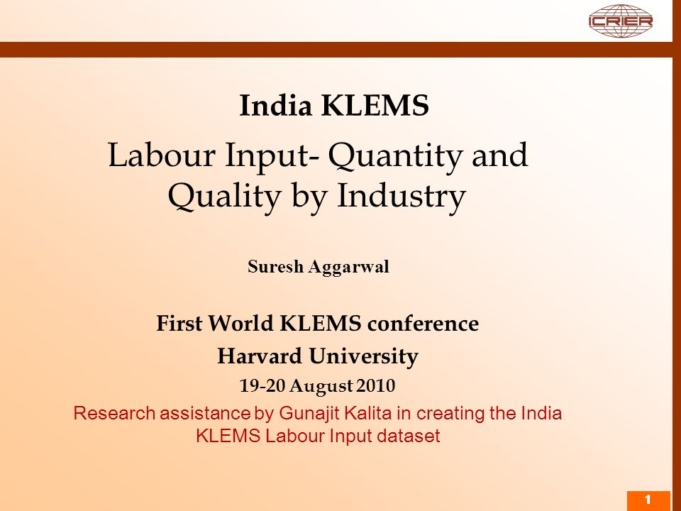 First World KLEMS conference