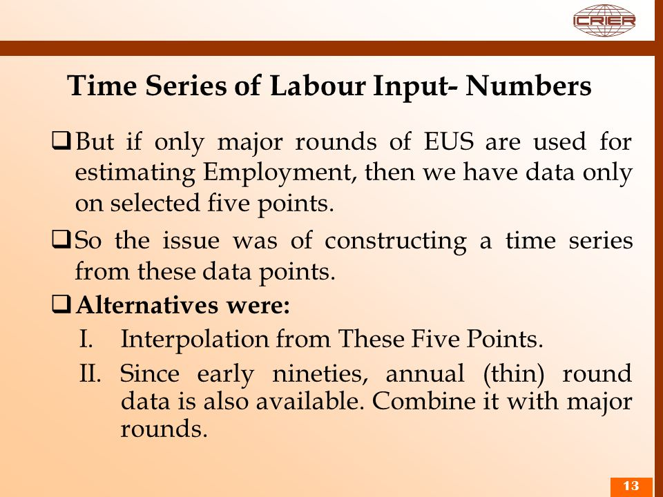Time Series of Labour Input- Numbers