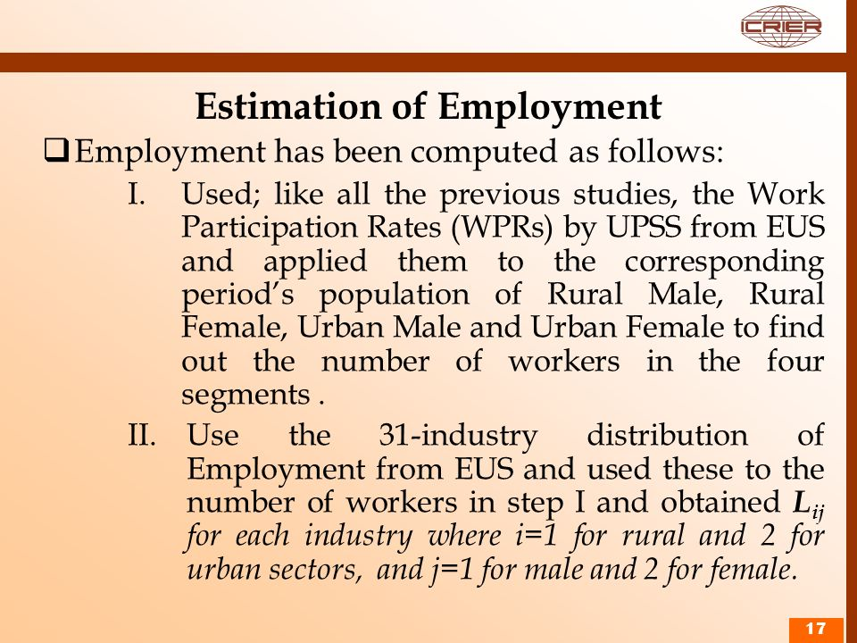Estimation of Employment