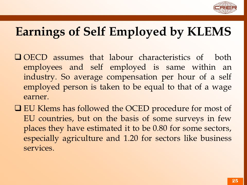 Earnings of Self Employed by KLEMS