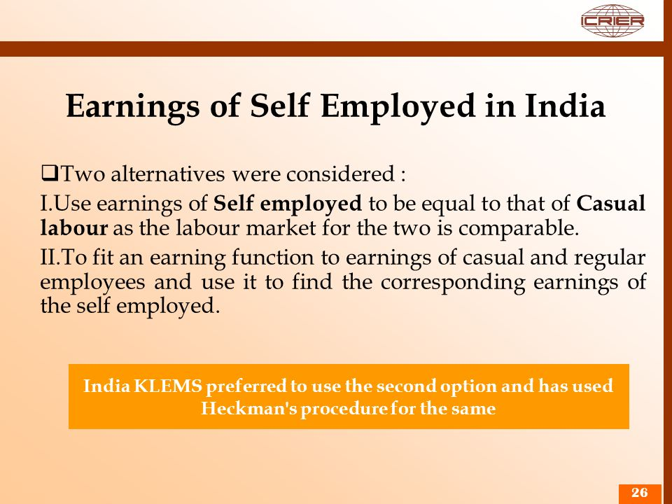 Earnings of Self Employed in India