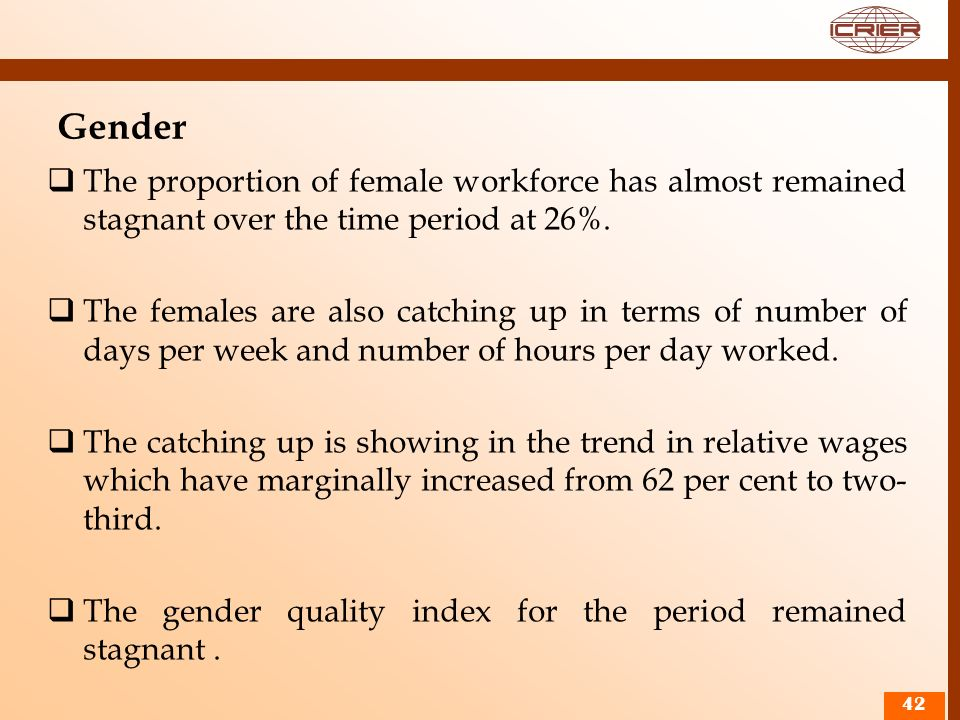 Gender The proportion of female workforce has almost remained stagnant over the time period at 26%.