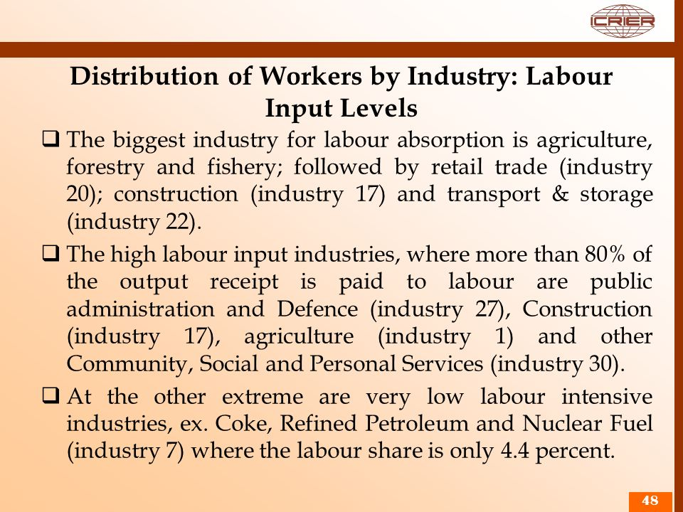 Distribution of Workers by Industry: Labour Input Levels