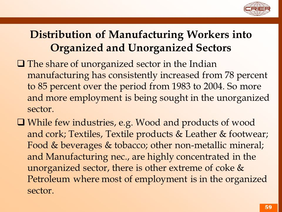 Distribution of Manufacturing Workers into Organized and Unorganized Sectors