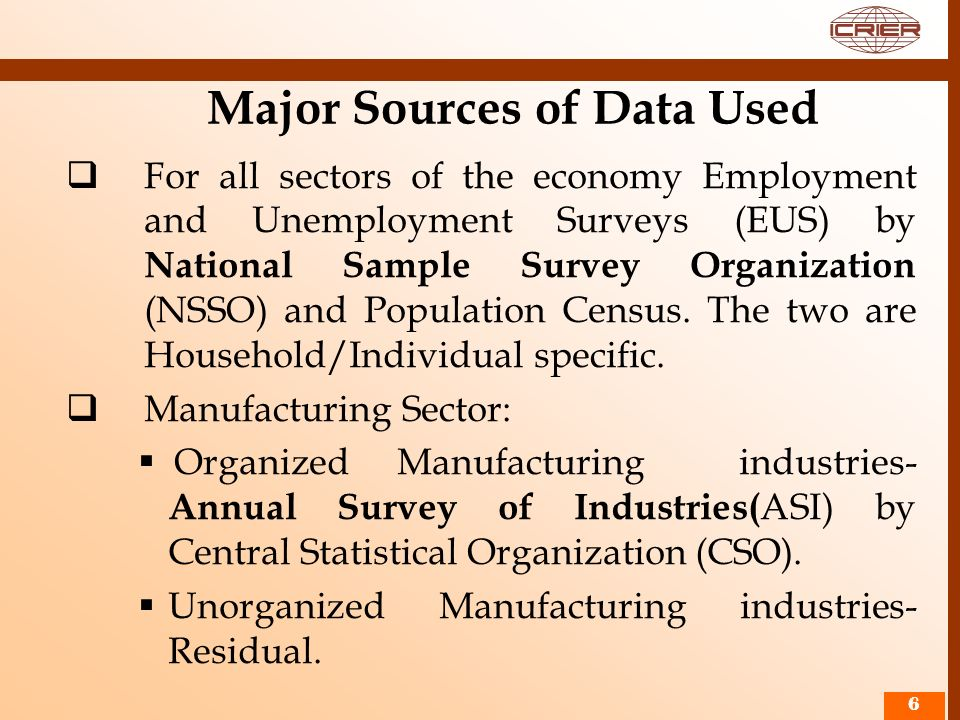 Major Sources of Data Used