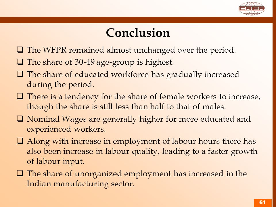Conclusion The WFPR remained almost unchanged over the period.