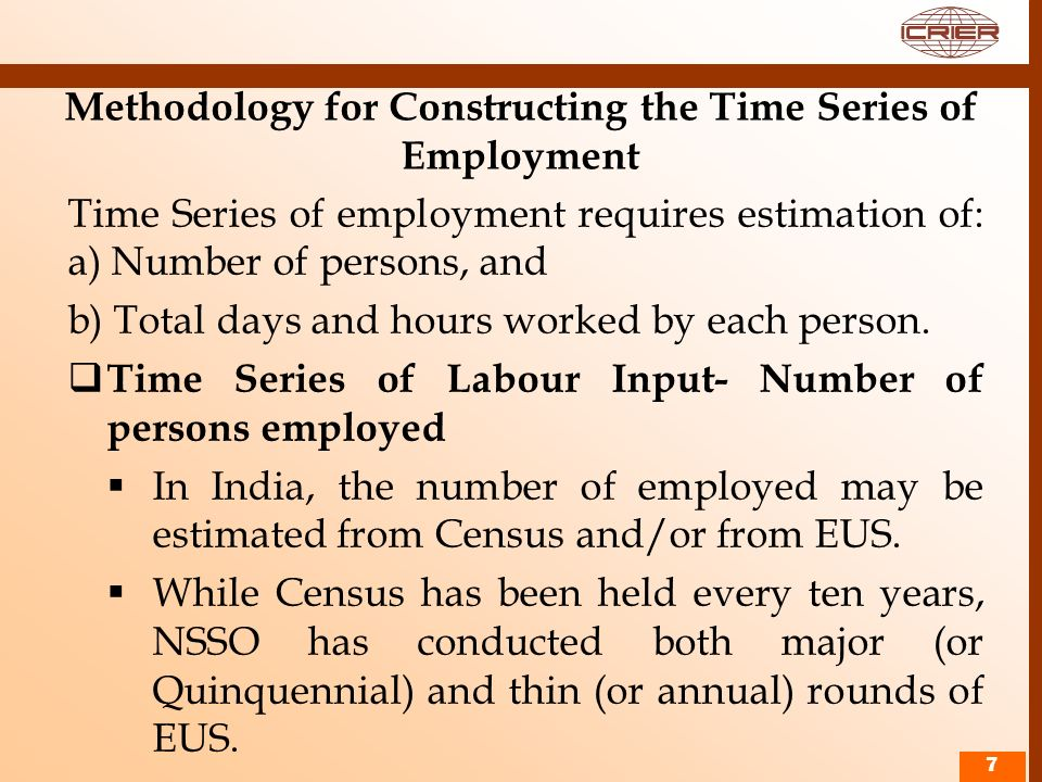Methodology for Constructing the Time Series of Employment