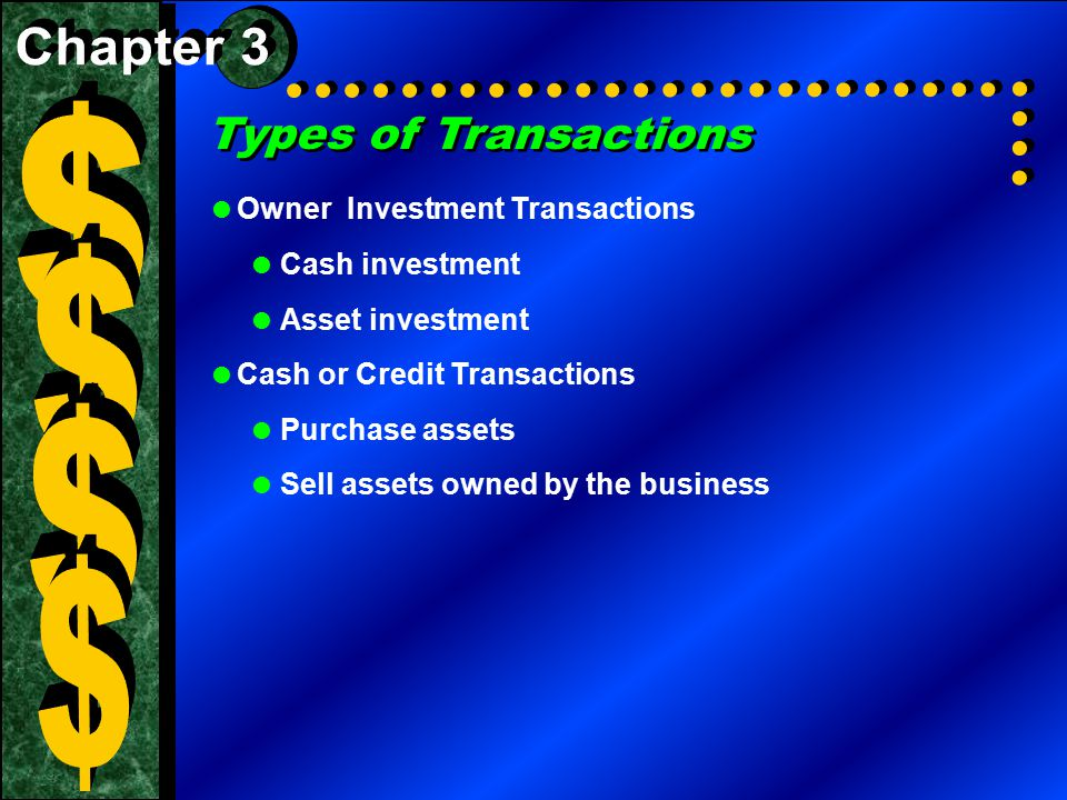 $ $ $ $ Types of Transactions Chapter 3 Owner Investment Transactions