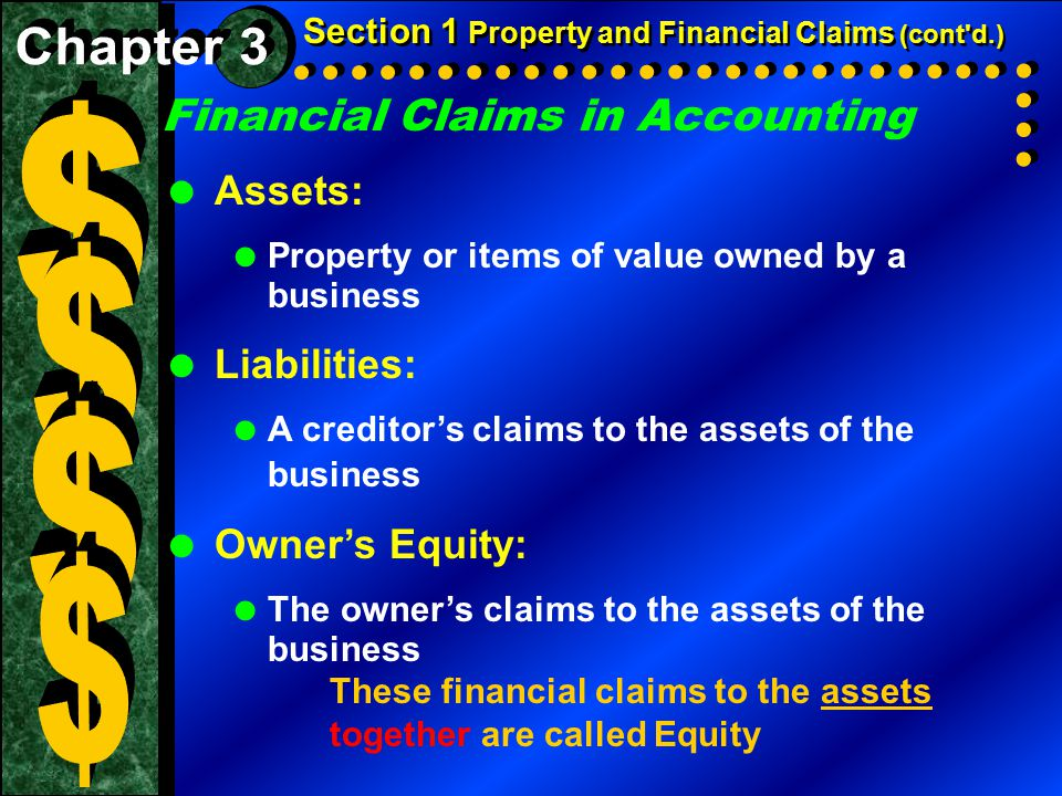 $ $ $ $ Financial Claims in Accounting Chapter 3 Assets: Liabilities: