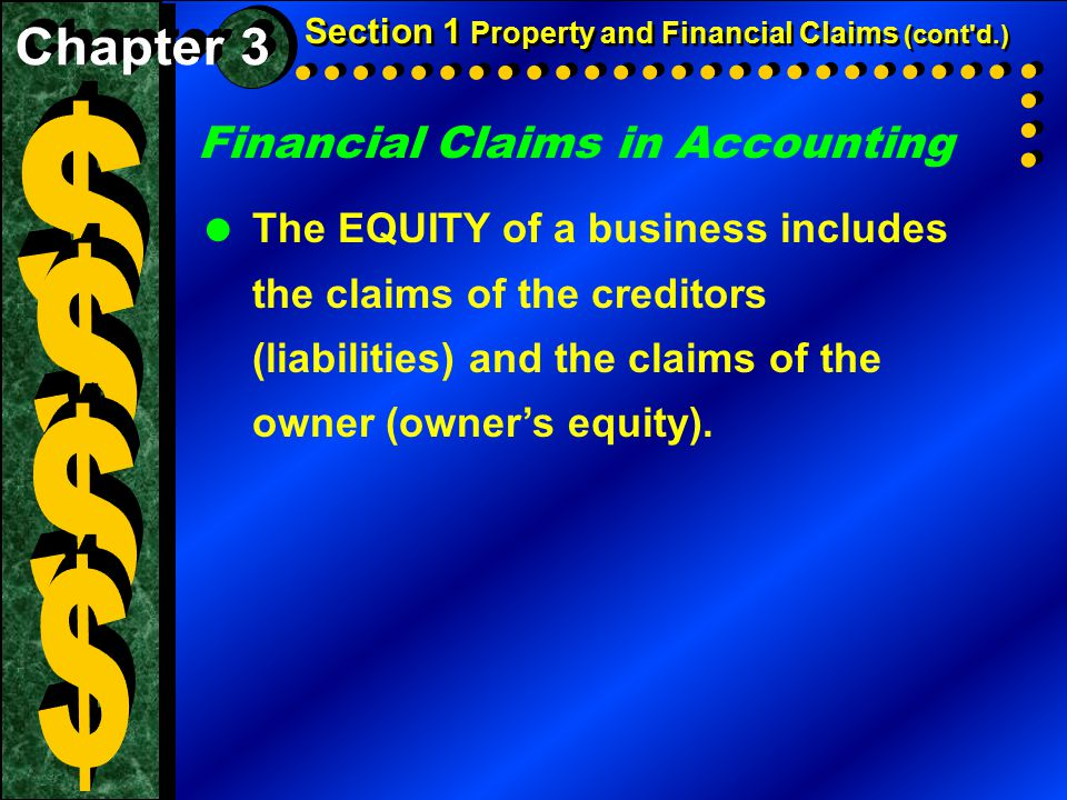 $ $ $ $ Financial Claims in Accounting Chapter 3
