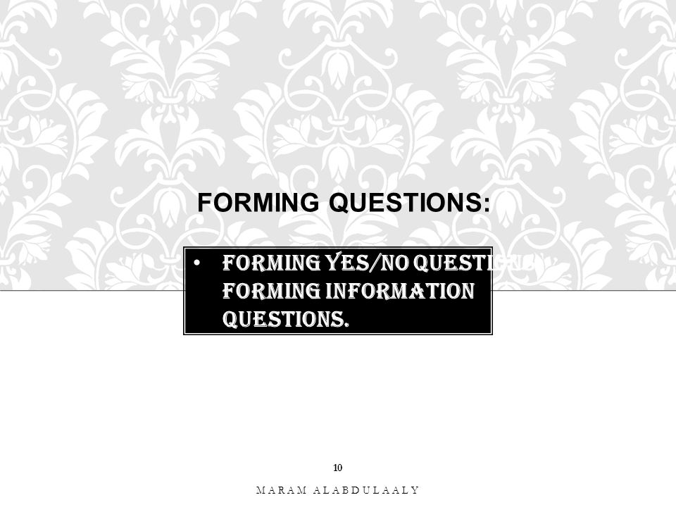 Forming yes/No Questions. Forming Information Questions.