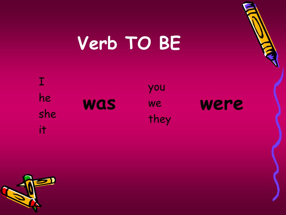 Verb TO BE I he she it you we they were was