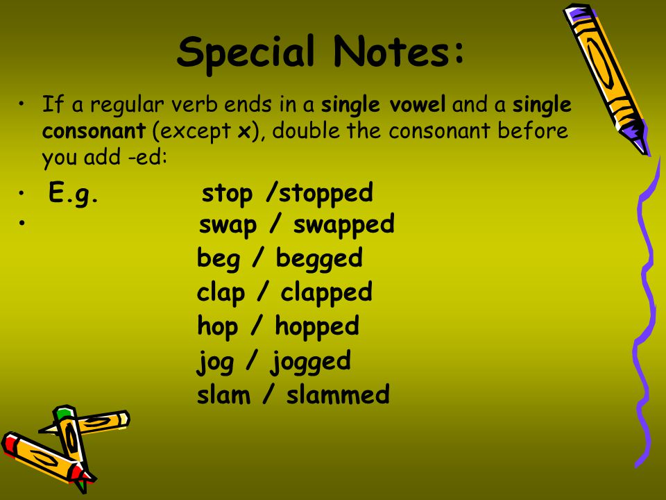 Special Notes: swap / swapped beg / begged clap / clapped hop / hopped