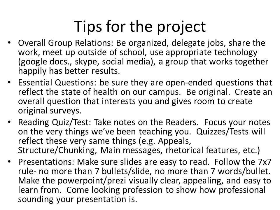 Tips for the project