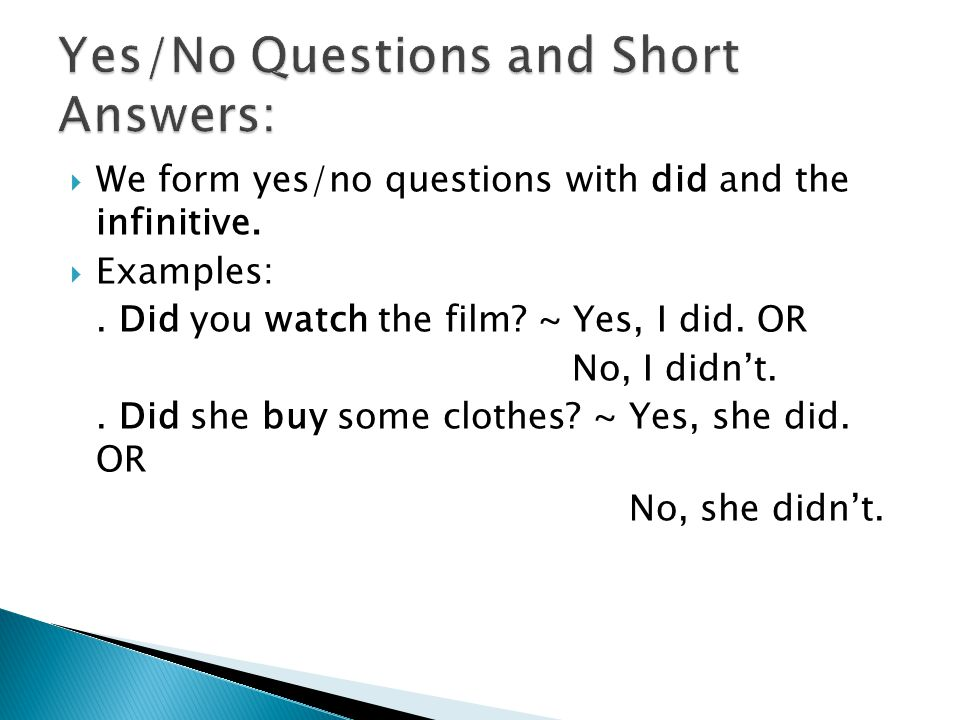 Yes/No Questions and Short Answers: