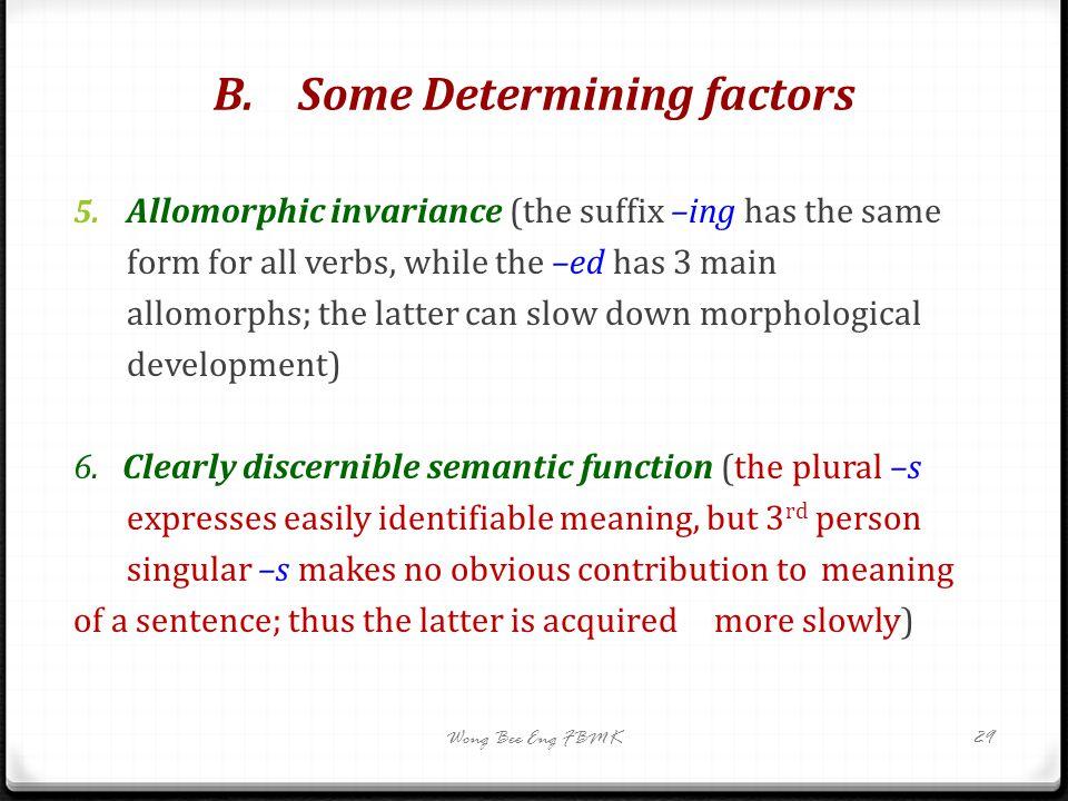 B. Some Determining factors