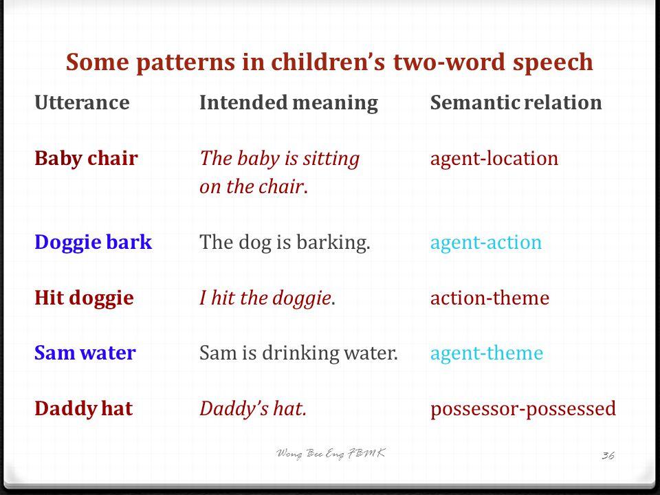 Some patterns in children's two-word speech