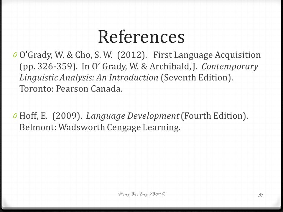 BBI 3209 Language Acquisition