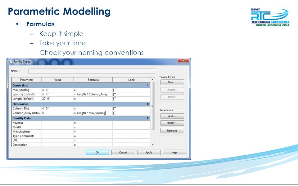 Parametric Modelling Formulas Keep it simple Take your time
