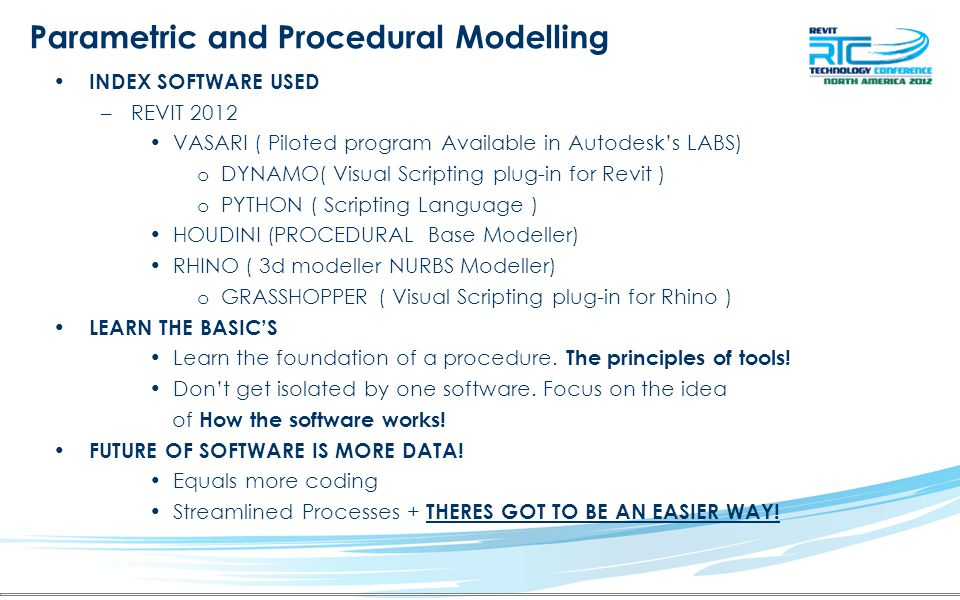 Parametric and Procedural Modelling
