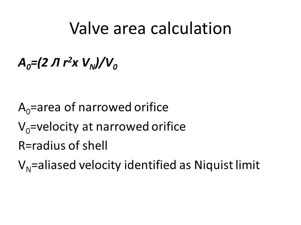 Valve area calculation