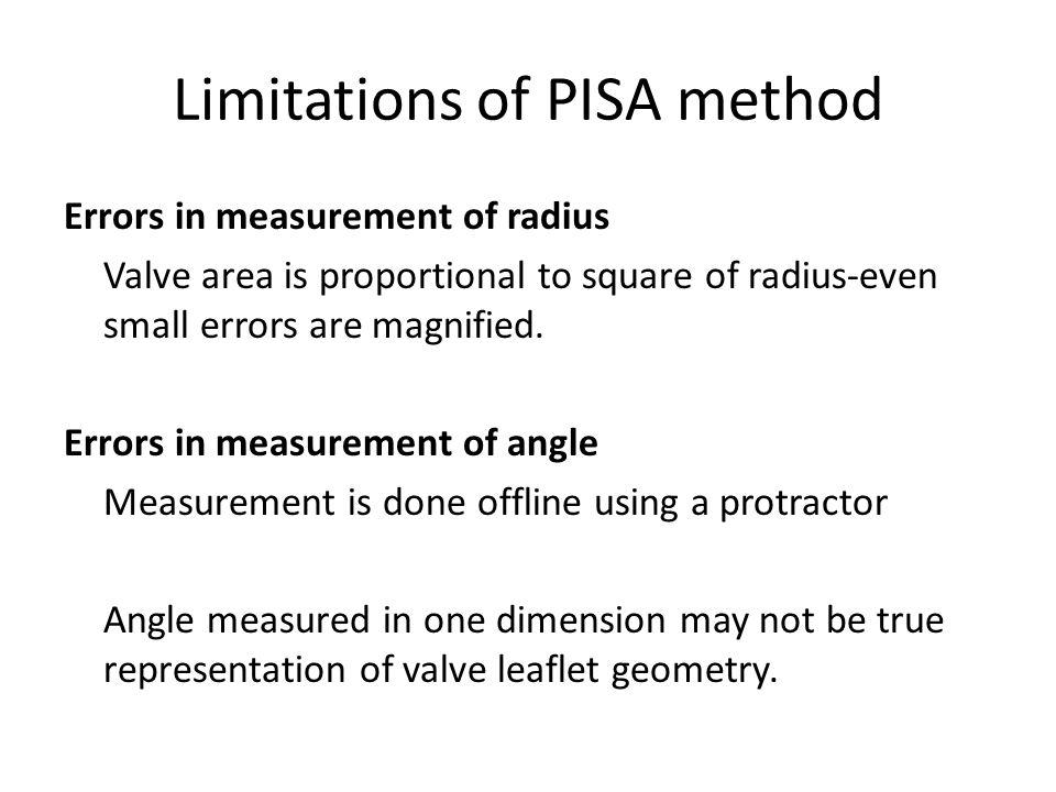 Limitations of PISA method