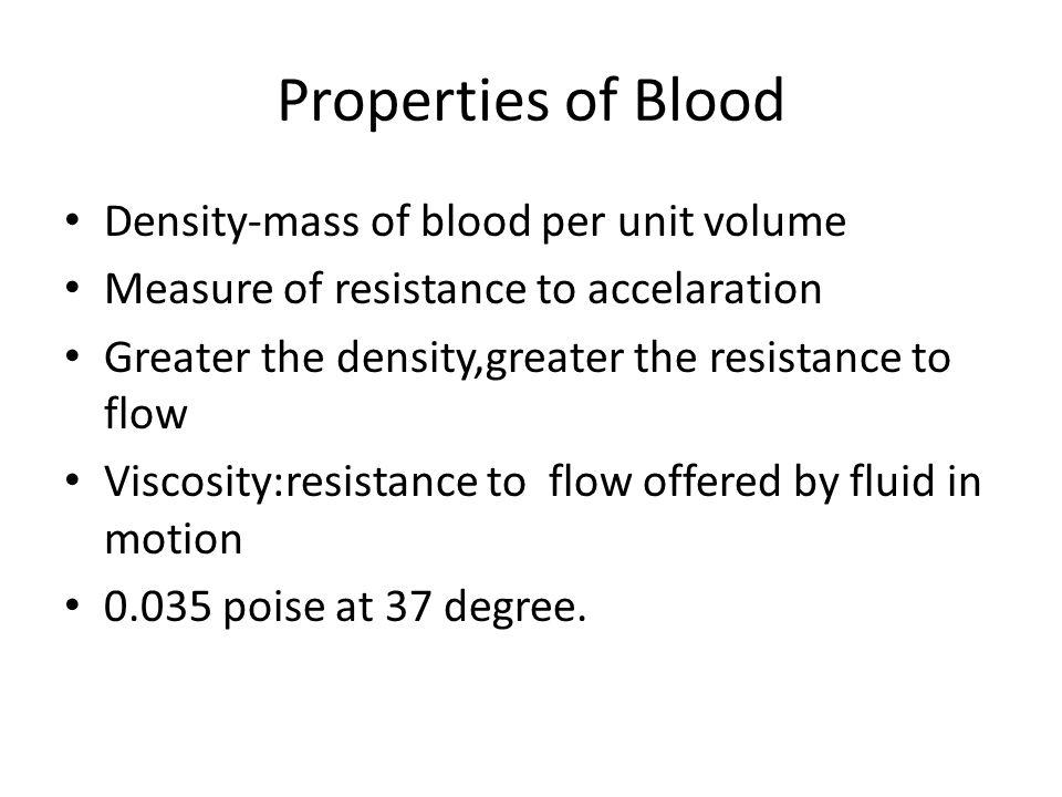 Properties of Blood Density-mass of blood per unit volume