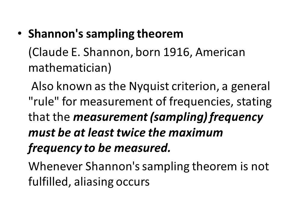 Shannon s sampling theorem