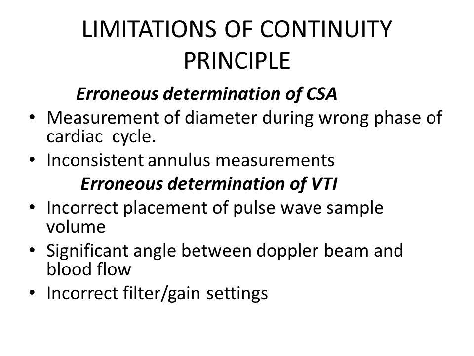 LIMITATIONS OF CONTINUITY PRINCIPLE