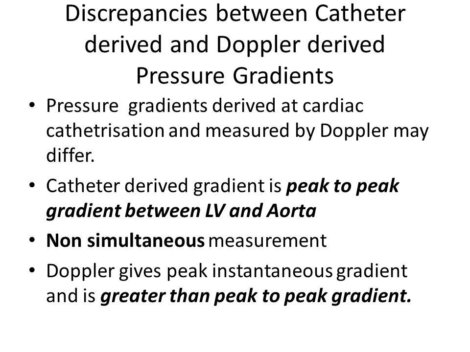 Discrepancies between Catheter derived and Doppler derived Pressure Gradients