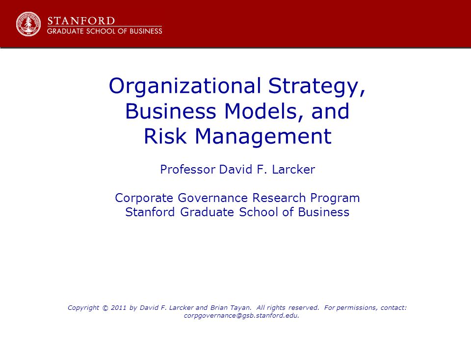 Organizational Strategy, Business Models, and Risk Management