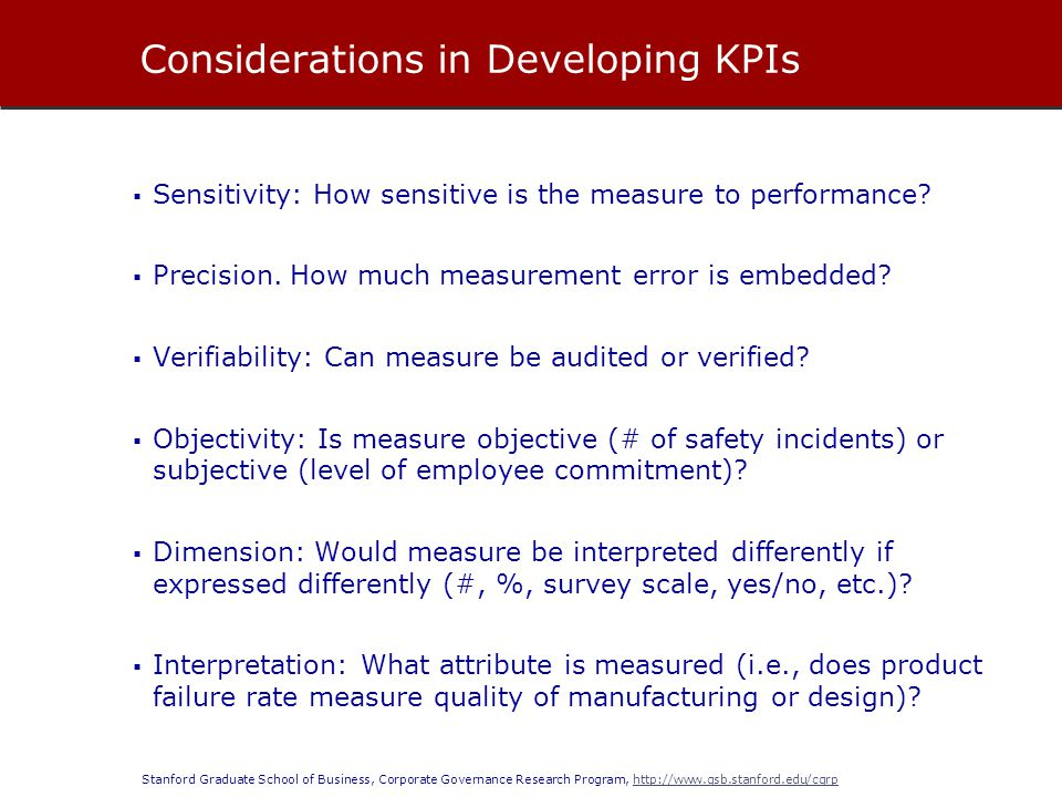 Considerations in Developing KPIs