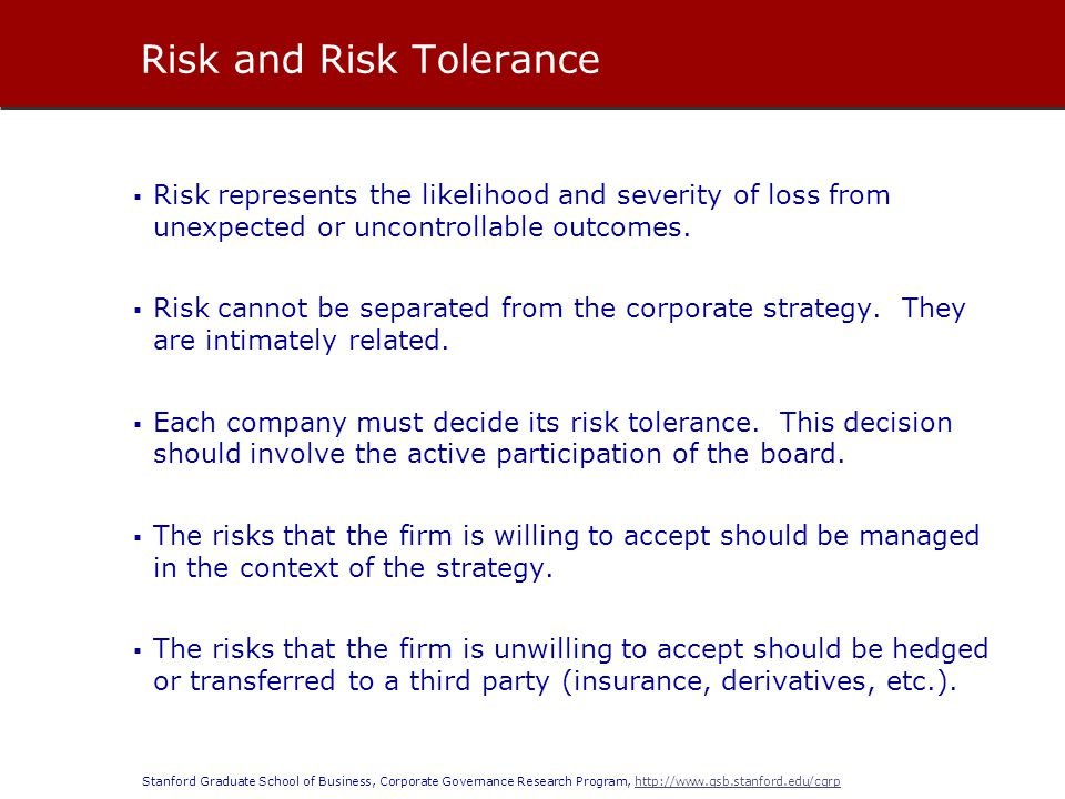 Risk and Risk Tolerance