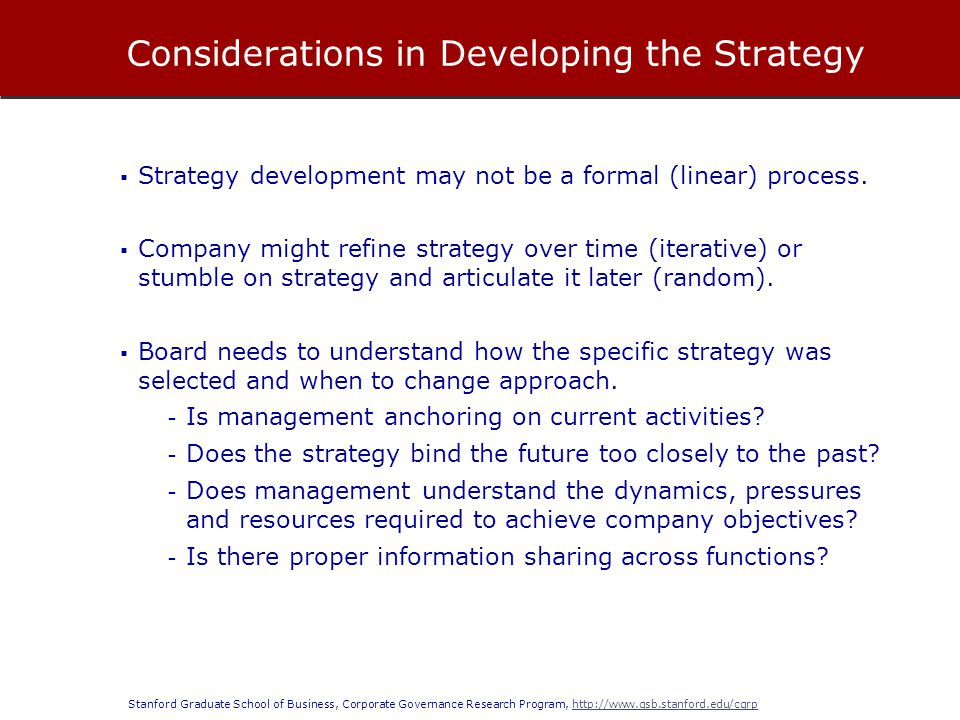 Considerations in Developing the Strategy