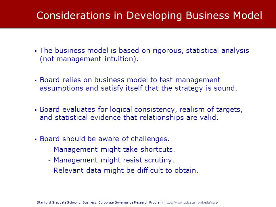 Considerations in Developing Business Model