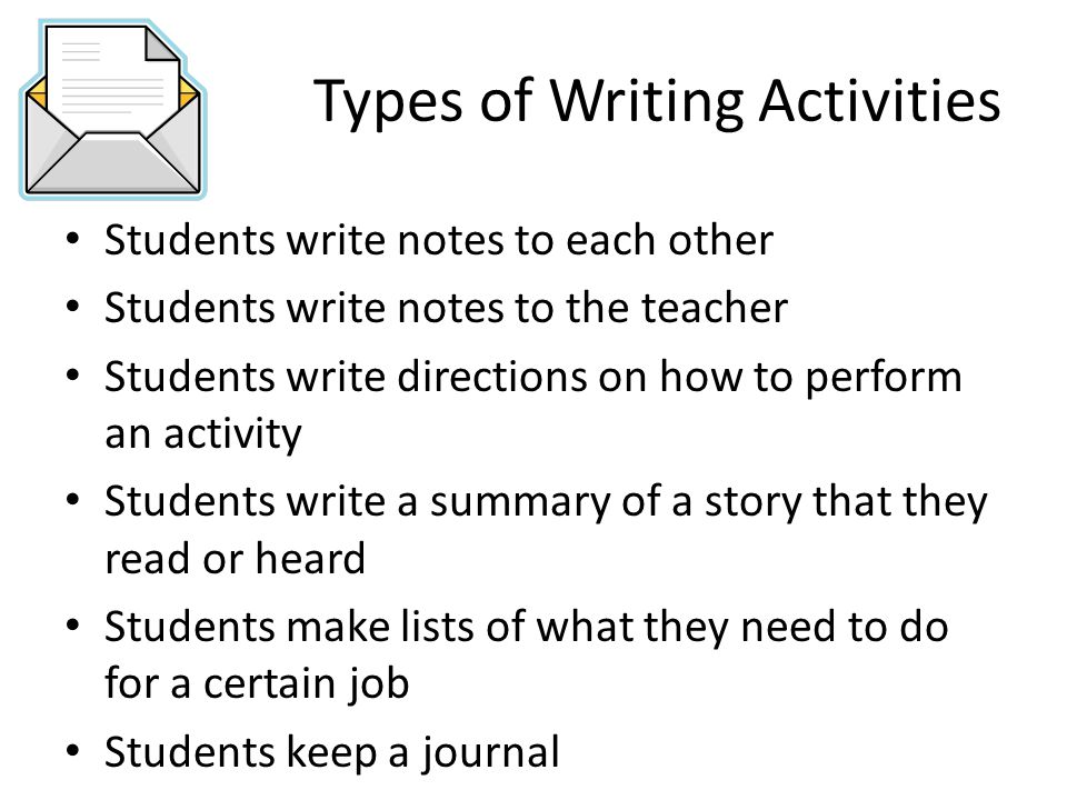 Types of Writing Activities