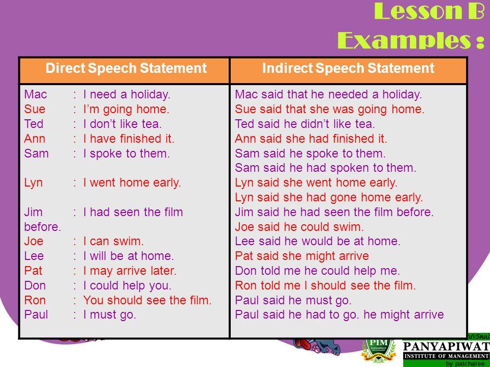 Direct Speech Statement Indirect Speech Statement