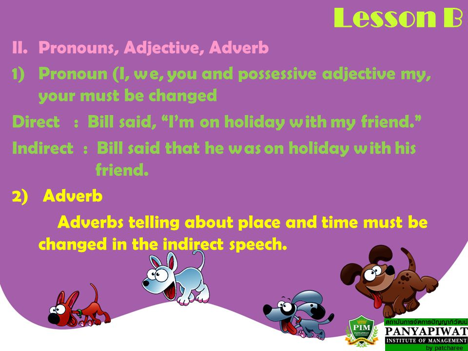 Lesson B II. Pronouns, Adjective, Adverb