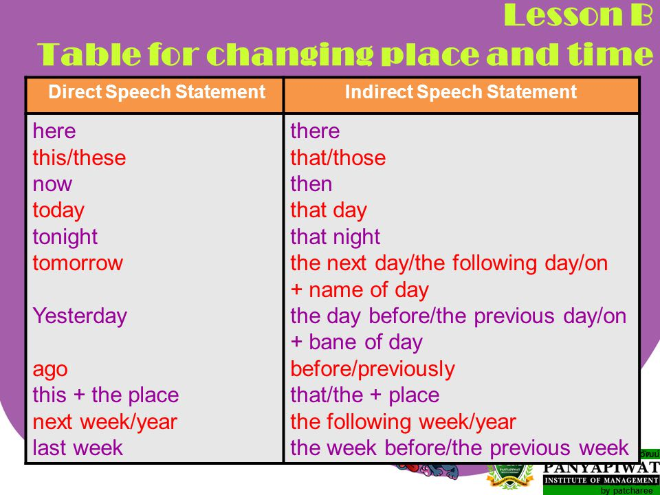 Lesson B Table for changing place and time