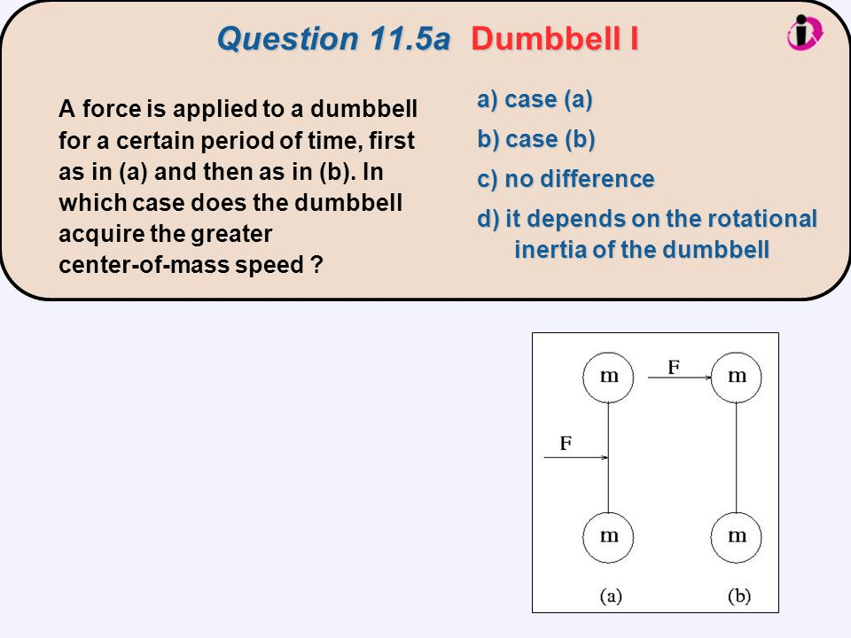 Question 11.5a Dumbbell I a) case (a)
