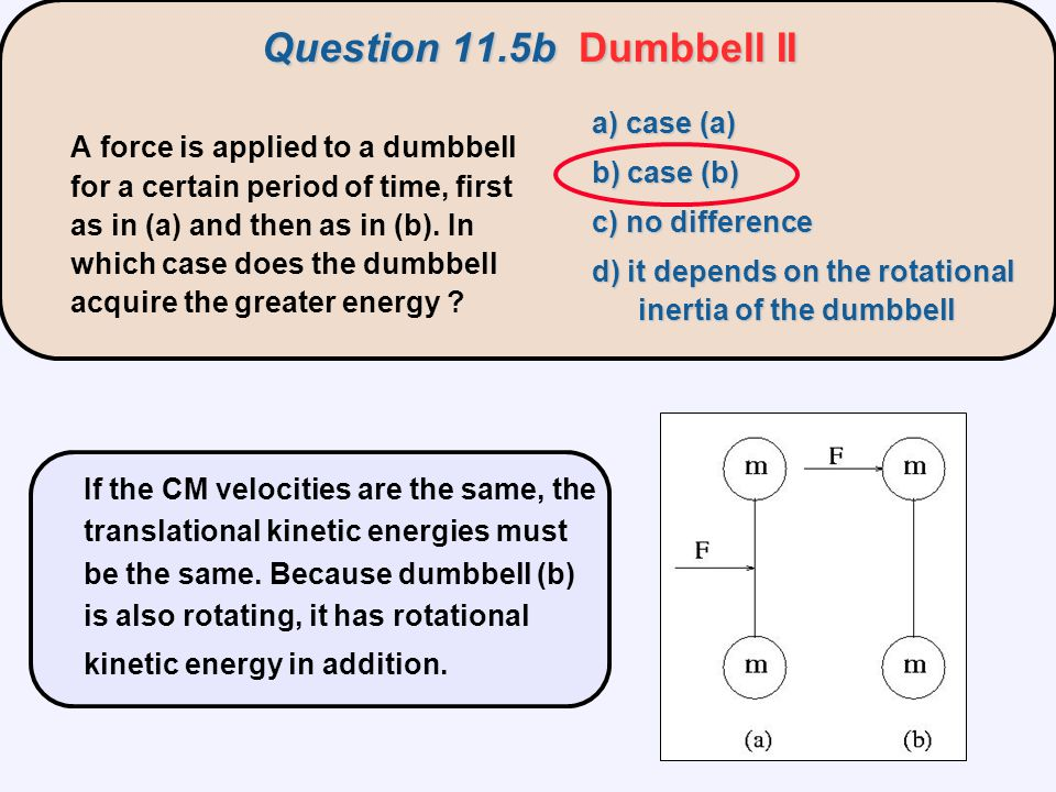 Question 11.5b Dumbbell II a) case (a) b) case (b)