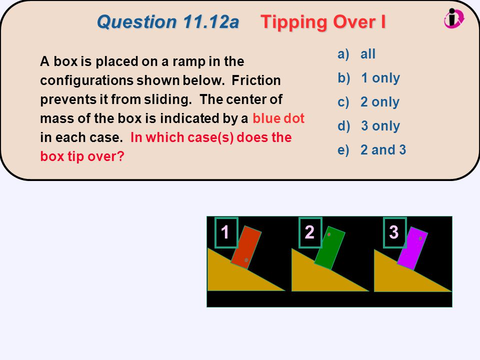 Question 11.12a Tipping Over I