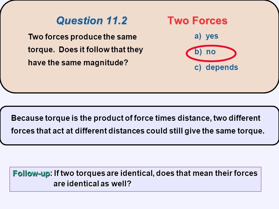 Question 11.2 Two Forces Two forces produce the same torque. Does it follow that they have the same magnitude