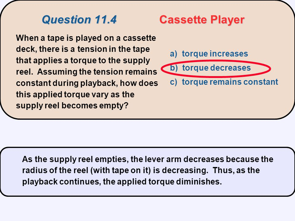 Question 11.4 Cassette Player